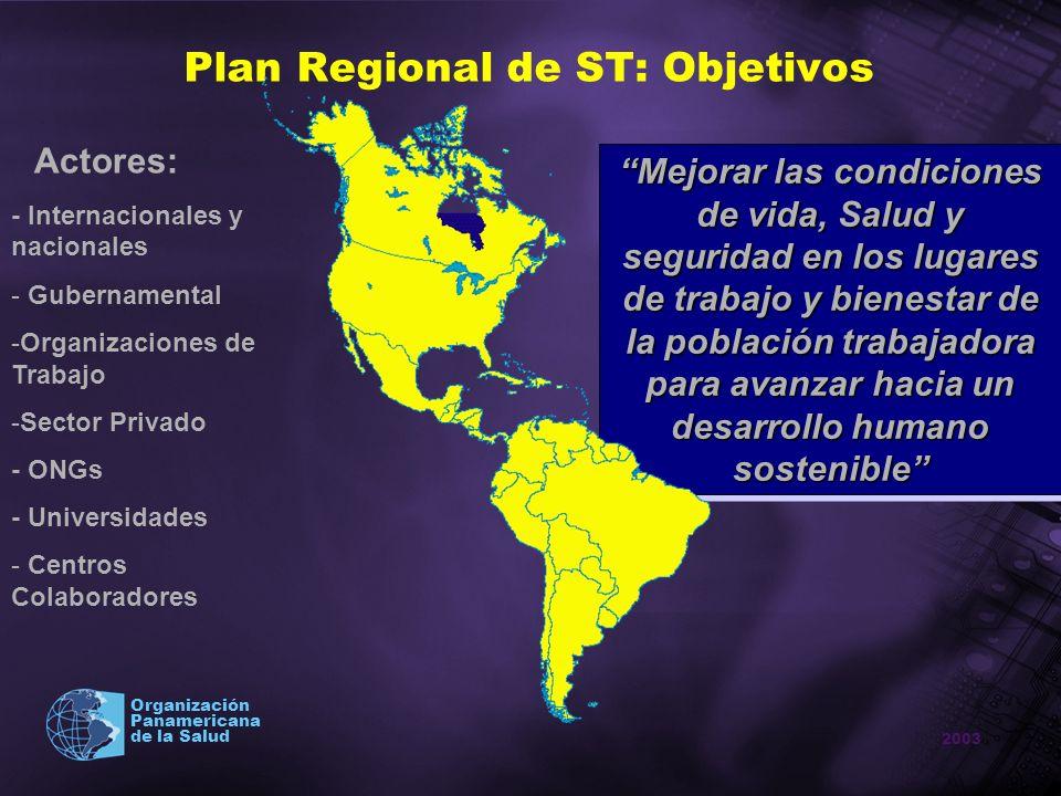 Plan Regional de ST: Objetivos