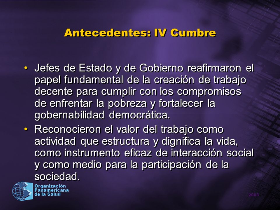 Antecedentes: IV Cumbre
