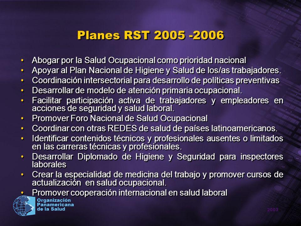 Planes RST 2005 -2006 Abogar por la Salud Ocupacional como prioridad nacional. Apoyar al Plan Nacional de Higiene y Salud de los/as trabajadores.