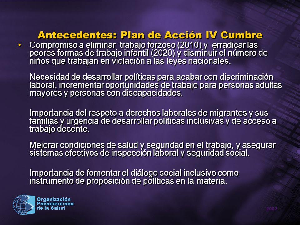 Antecedentes: Plan de Acción IV Cumbre