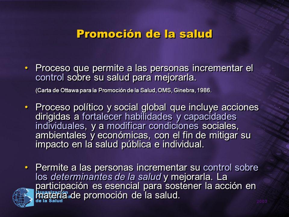 Promoción de la salud Proceso que permite a las personas incrementar el control sobre su salud para mejorarla.