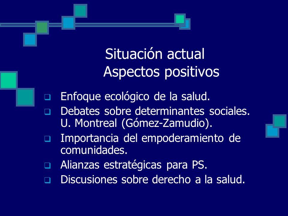 Situación actual Aspectos positivos