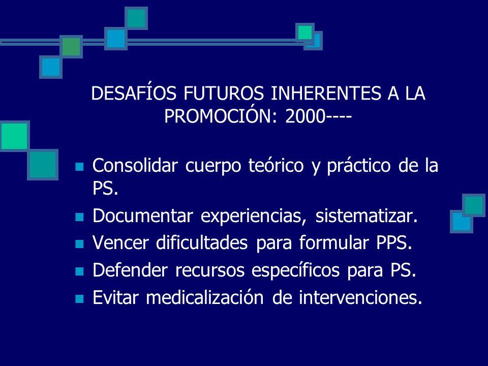 DESAFÍOS FUTUROS INHERENTES A LA PROMOCIÓN: 2000----