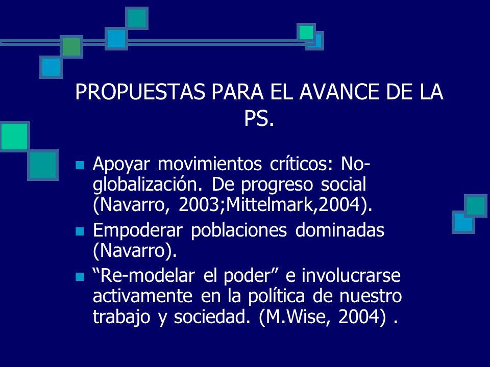 PROPUESTAS PARA EL AVANCE DE LA PS.