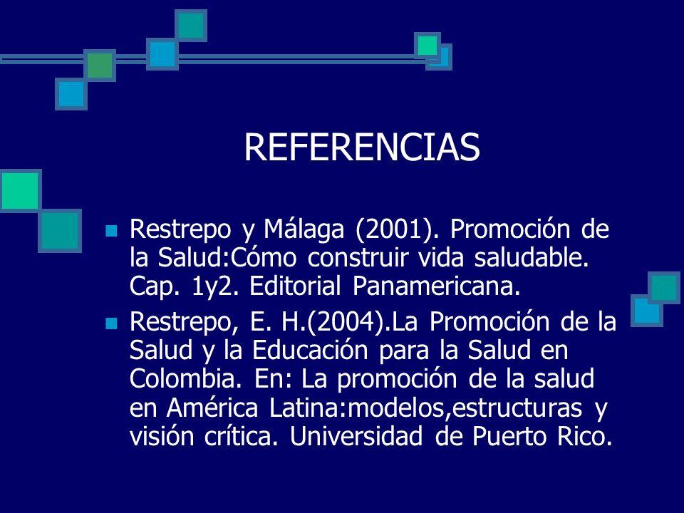 REFERENCIAS Restrepo y Málaga (2001). Promoción de la Salud:Cómo construir vida saludable. Cap. 1y2. Editorial Panamericana.