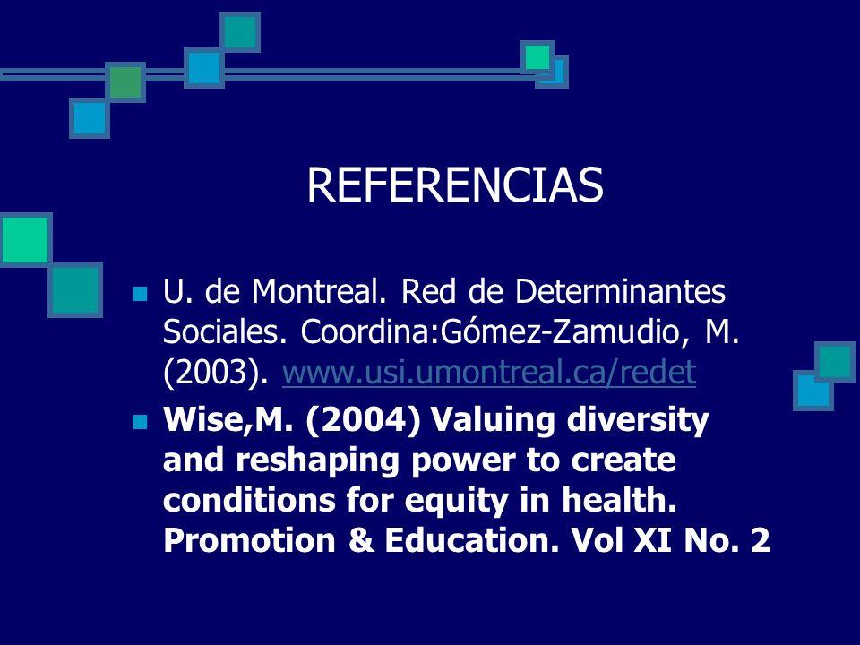 REFERENCIAS U. de Montreal. Red de Determinantes Sociales. Coordina:Gómez-Zamudio, M. (2003). www.usi.umontreal.ca/redet.