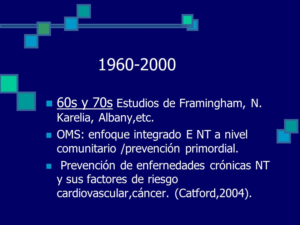 1960-2000 60s y 70s Estudios de Framingham, N. Karelia, Albany,etc.