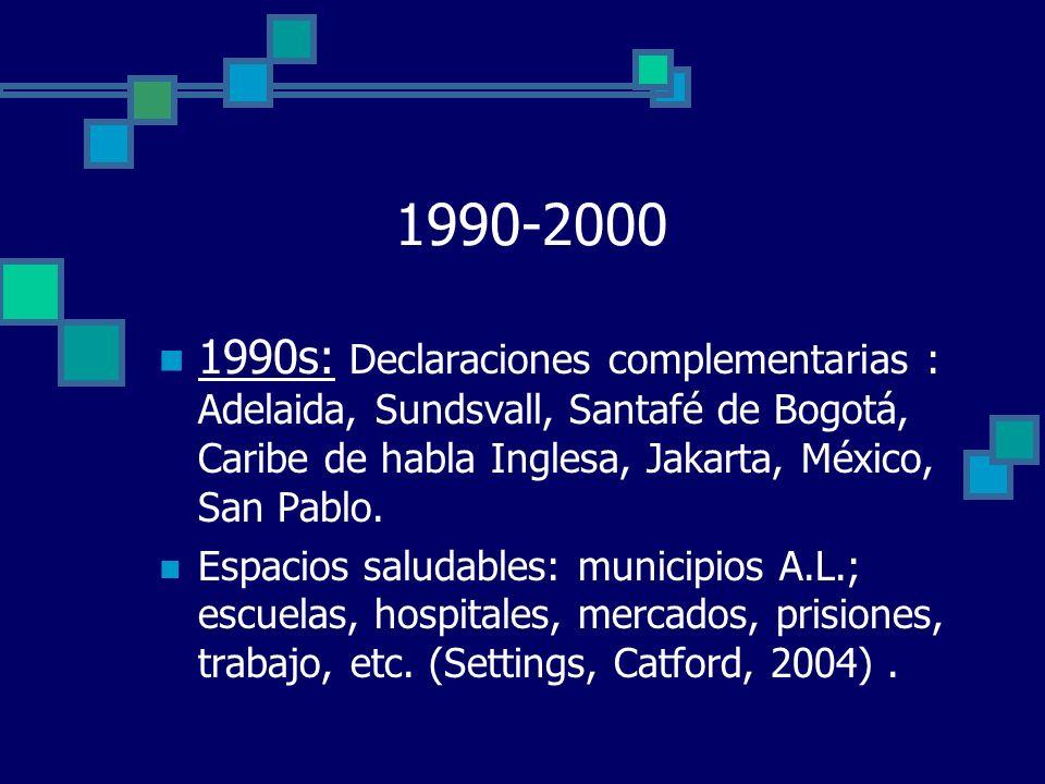 1990-2000 1990s: Declaraciones complementarias : Adelaida, Sundsvall, Santafé de Bogotá, Caribe de habla Inglesa, Jakarta, México, San Pablo.