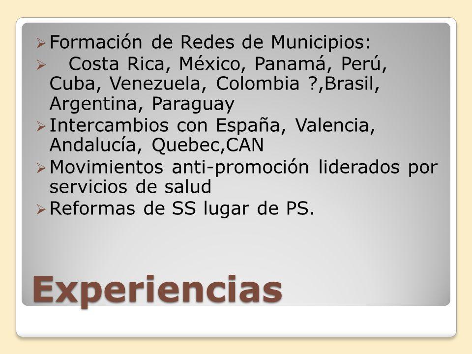 Experiencias Formación de Redes de Municipios: