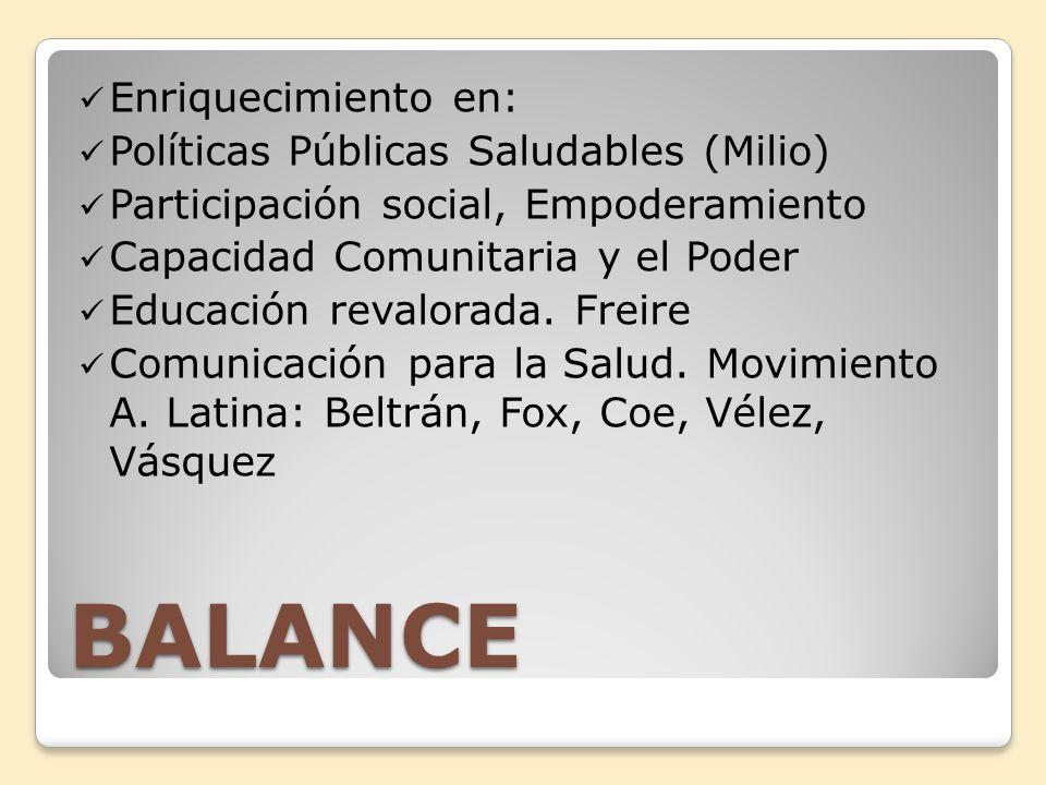 BALANCE Enriquecimiento en: Políticas Públicas Saludables (Milio)