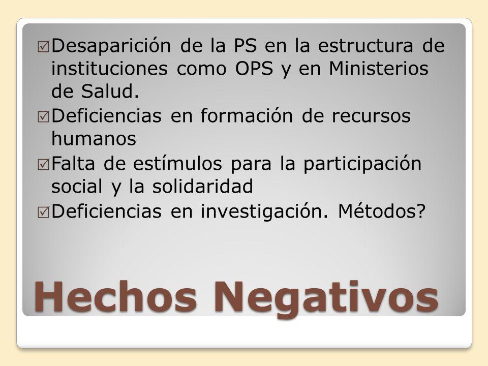 Desaparición de la PS en la estructura de instituciones como OPS y en Ministerios de Salud.