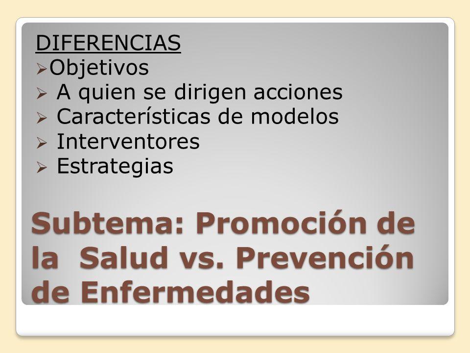 Subtema: Promoción de la Salud vs. Prevención de Enfermedades