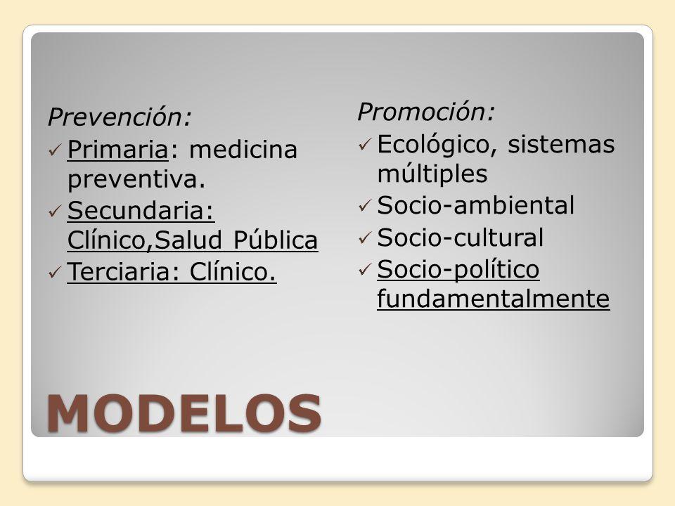MODELOS Promoción: Prevención: Ecológico, sistemas múltiples