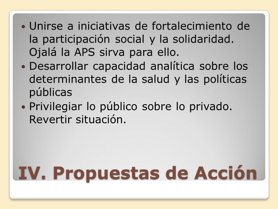 IV. Propuestas de Acción
