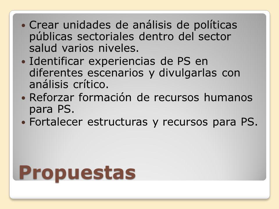 Crear unidades de análisis de políticas públicas sectoriales dentro del sector salud varios niveles.