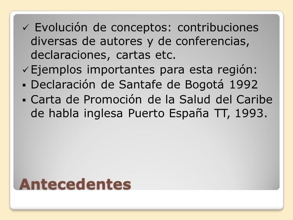 Evolución de conceptos: contribuciones diversas de autores y de conferencias, declaraciones, cartas etc.