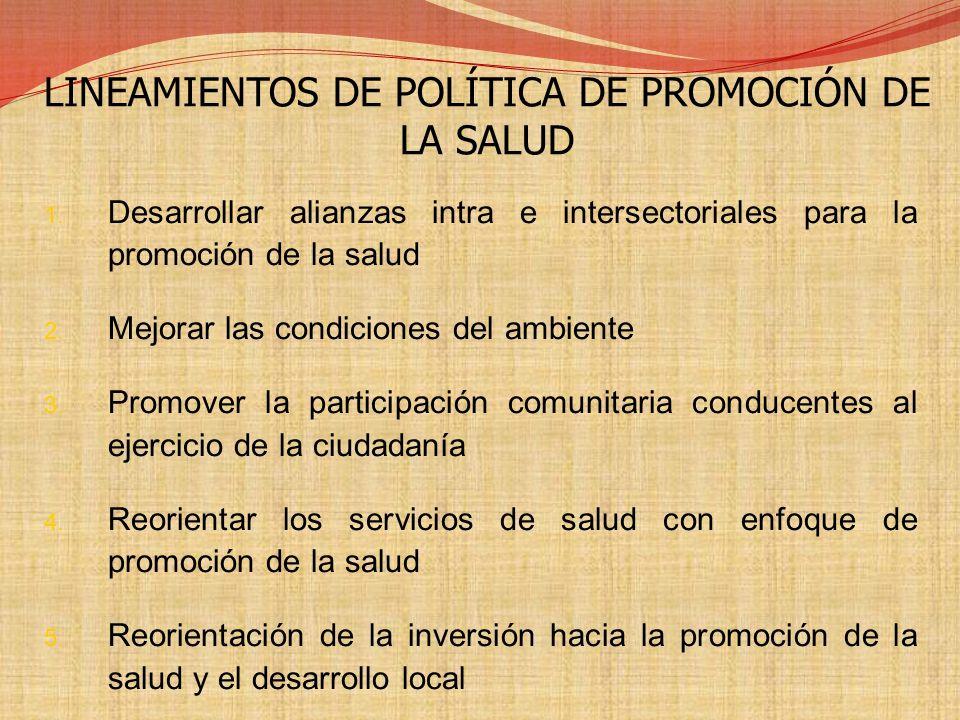 LINEAMIENTOS DE POLÍTICA DE PROMOCIÓN DE LA SALUD