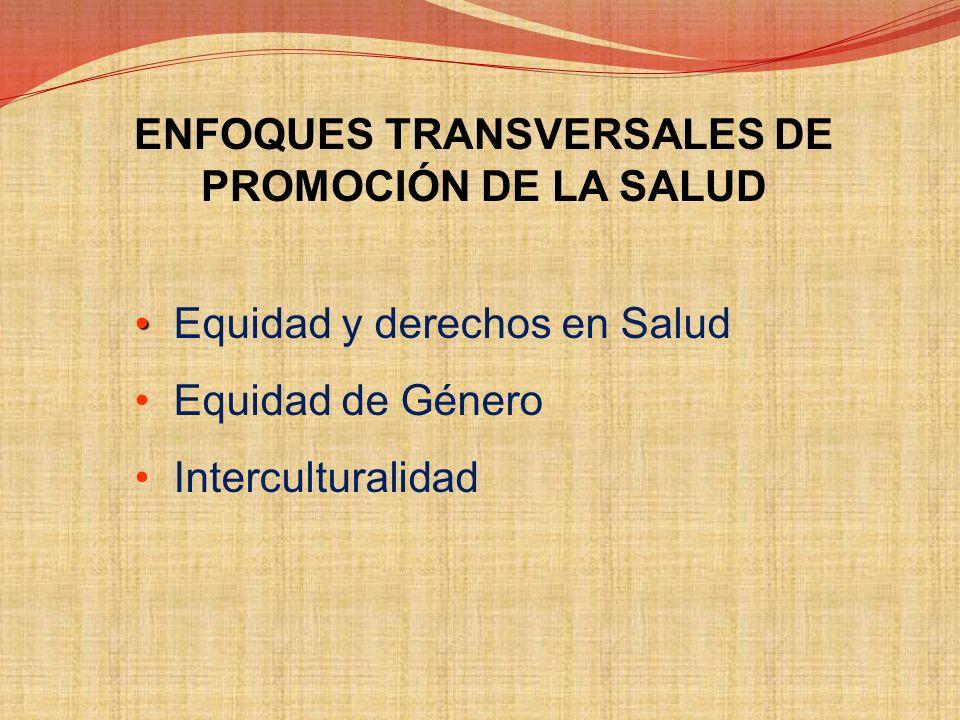 ENFOQUES TRANSVERSALES DE PROMOCIÓN DE LA SALUD