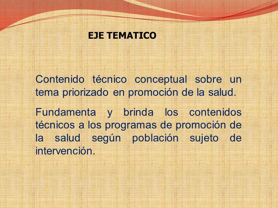 EJE TEMATICO Contenido técnico conceptual sobre un tema priorizado en promoción de la salud.