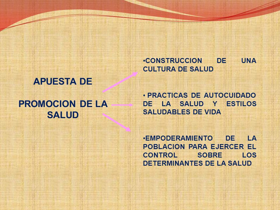 APUESTA DE PROMOCION DE LA SALUD CONSTRUCCION DE UNA CULTURA DE SALUD
