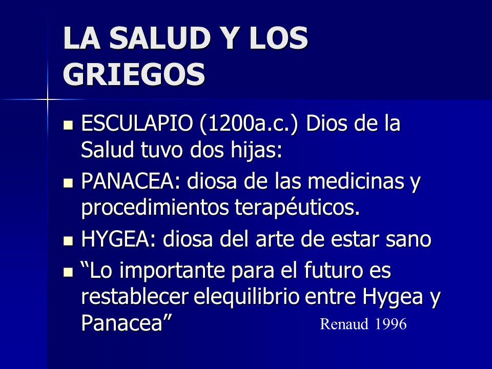 LA SALUD Y LOS GRIEGOS ESCULAPIO (1200a.c.) Dios de la Salud tuvo dos hijas: PANACEA: diosa de las medicinas y procedimientos terapéuticos.