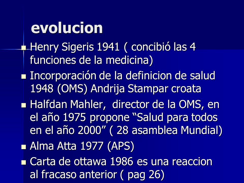 evolucion Henry Sigeris 1941 ( concibió las 4 funciones de la medicina) Incorporación de la definicion de salud 1948 (OMS) Andrija Stampar croata.
