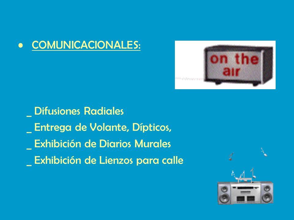 COMUNICACIONALES: _ Difusiones Radiales. _ Entrega de Volante, Dípticos, _ Exhibición de Diarios Murales.
