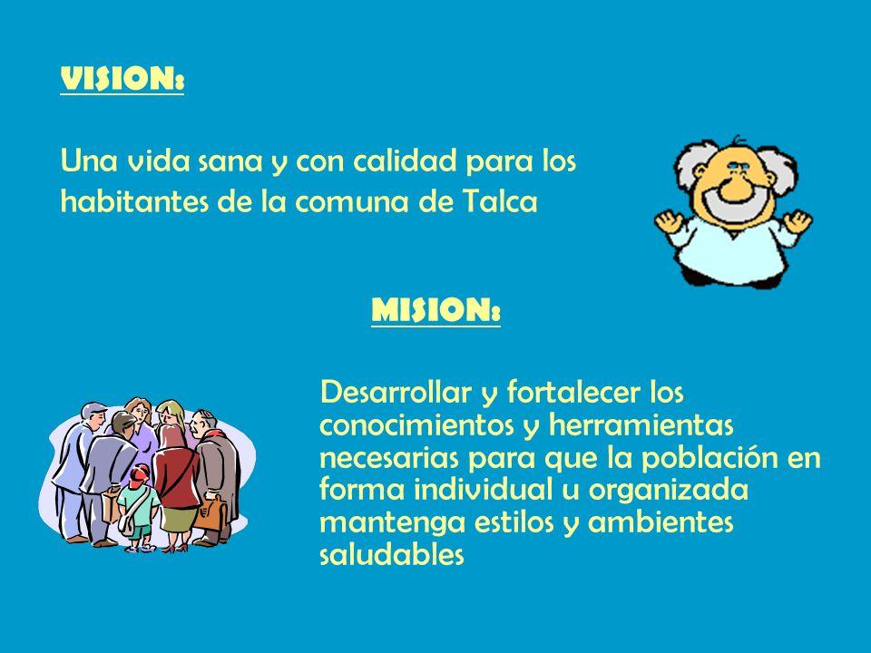 VISION: Una vida sana y con calidad para los habitantes de la comuna de Talca. MISION: