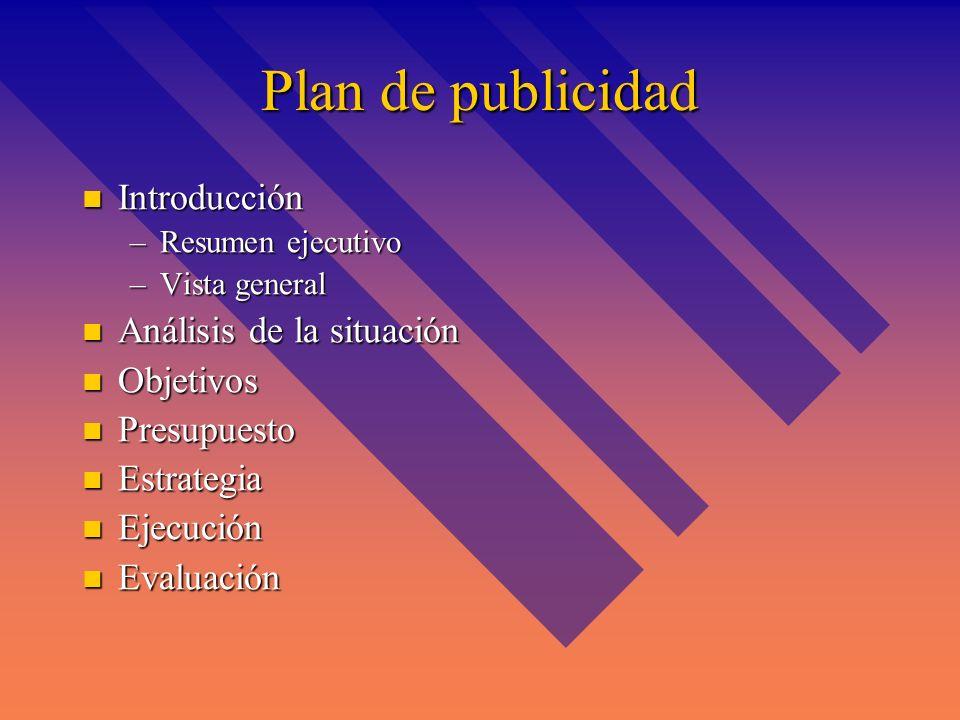 Plan de publicidad Introducción Análisis de la situación Objetivos