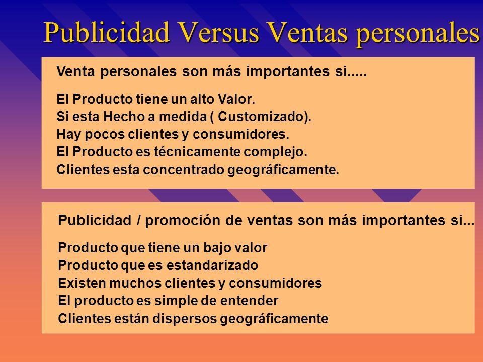 Publicidad Versus Ventas personales