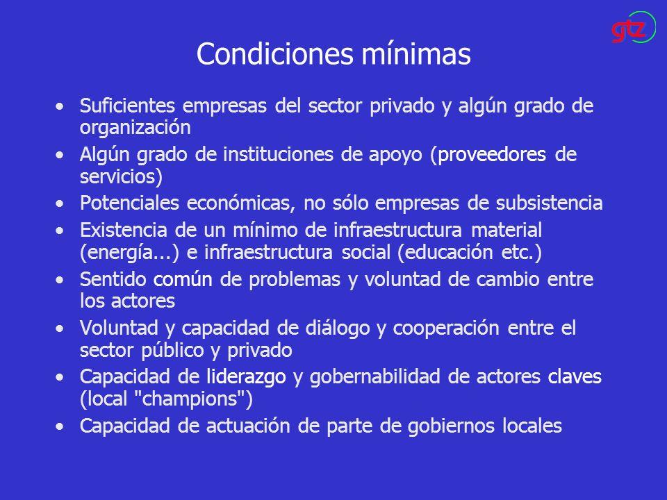 Condiciones mínimas Suficientes empresas del sector privado y algún grado de organización.