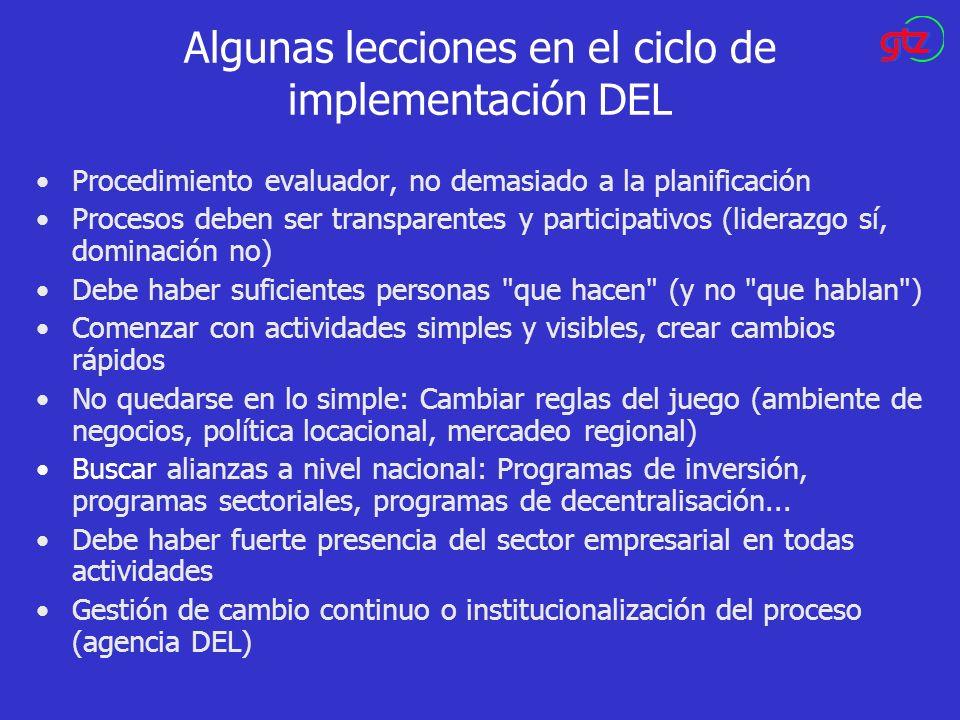 Algunas lecciones en el ciclo de implementación DEL