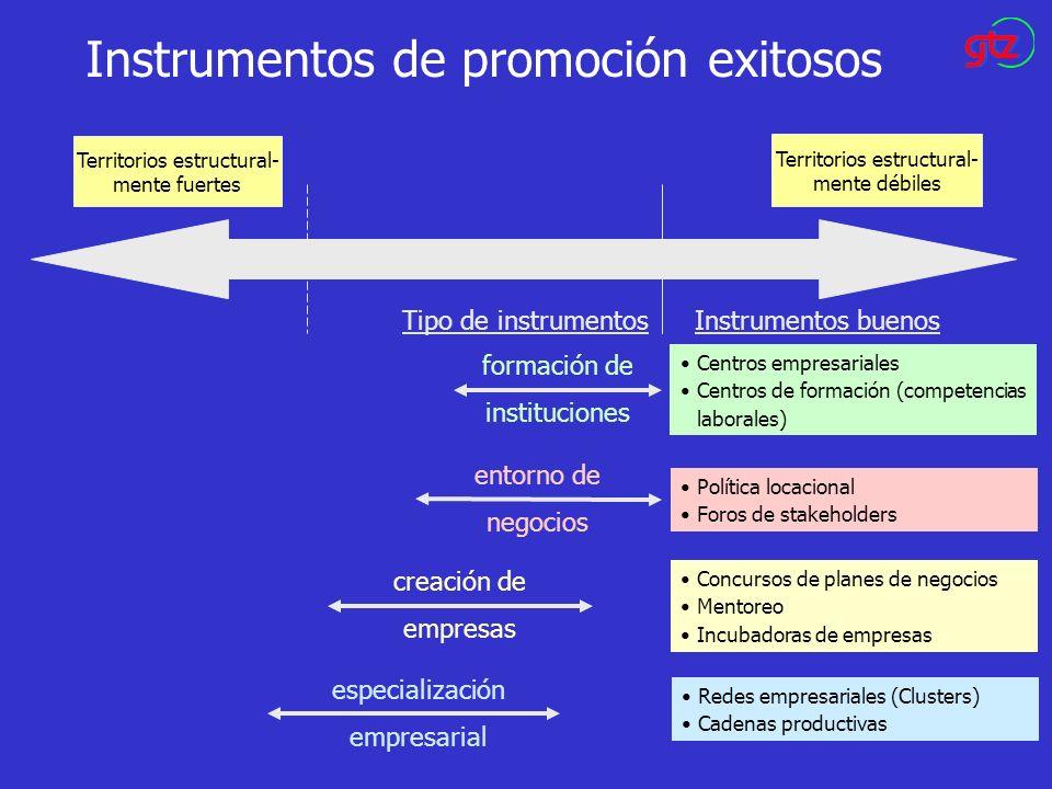 Instrumentos de promoción exitosos