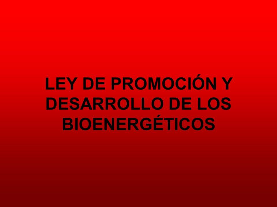 LEY DE PROMOCIÓN Y DESARROLLO DE LOS BIOENERGÉTICOS