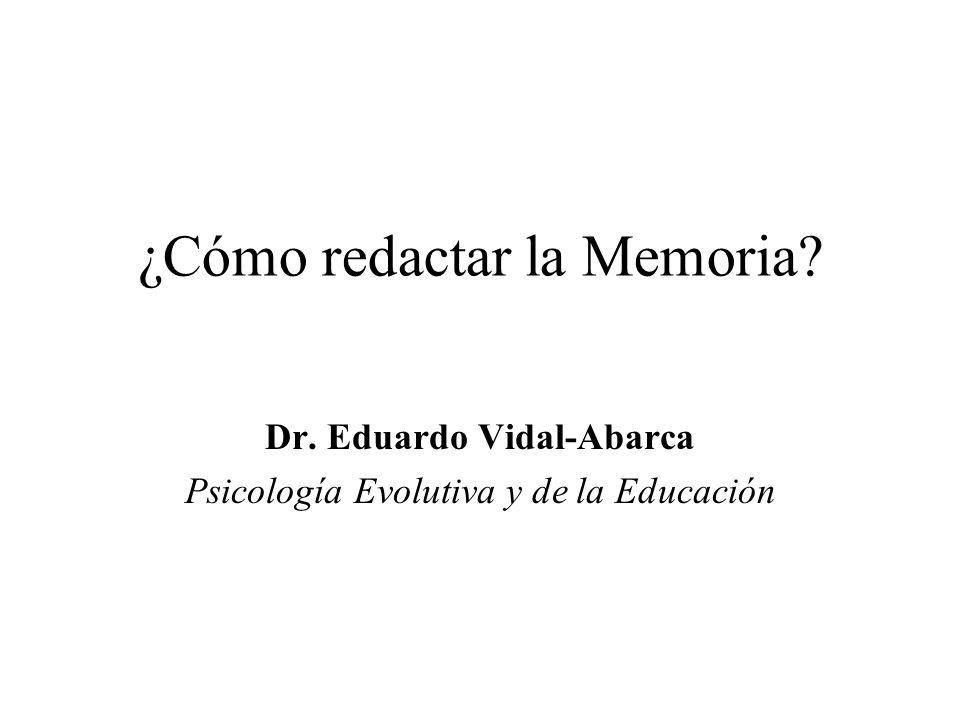¿Cómo redactar la Memoria