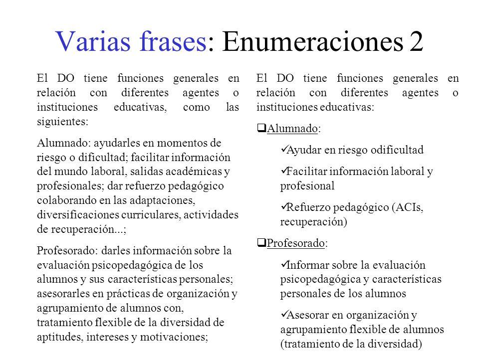 Varias frases: Enumeraciones 2