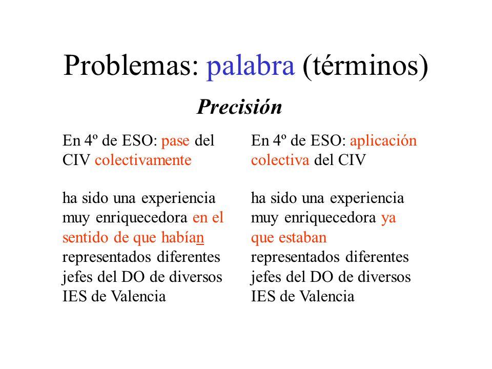 Problemas: palabra (términos)