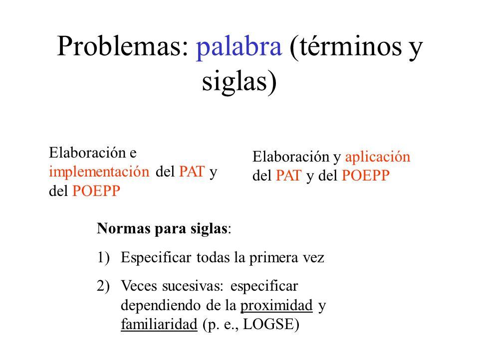 Problemas: palabra (términos y siglas)