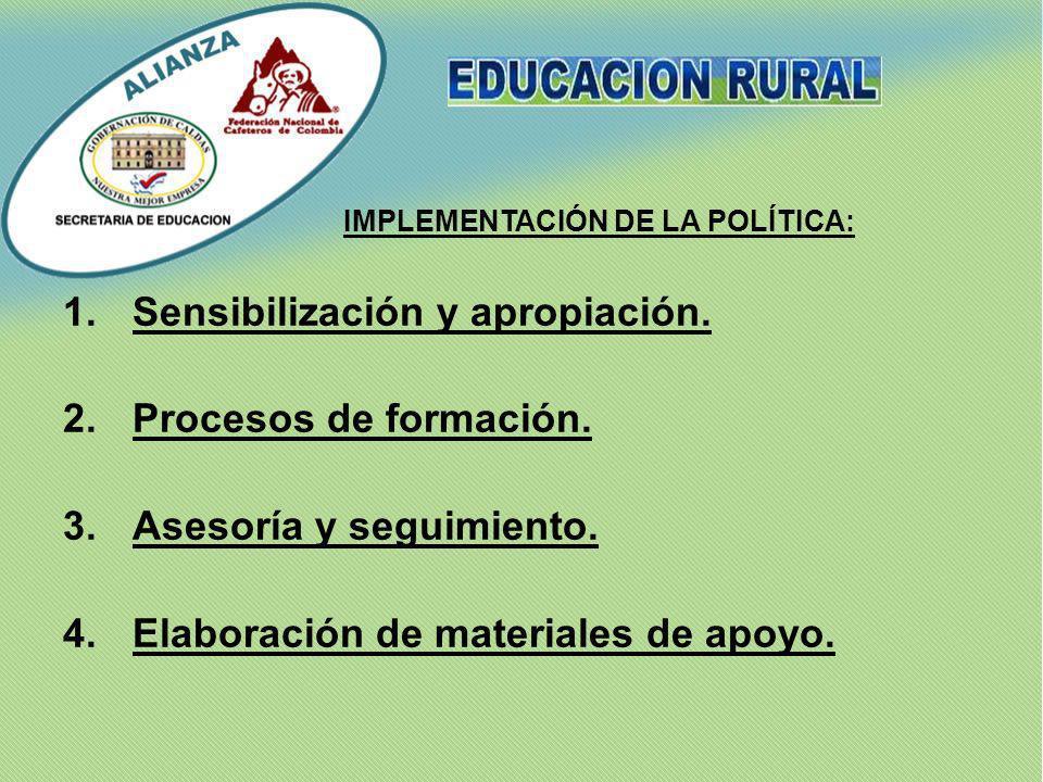Sensibilización y apropiación. 2. Procesos de formación.