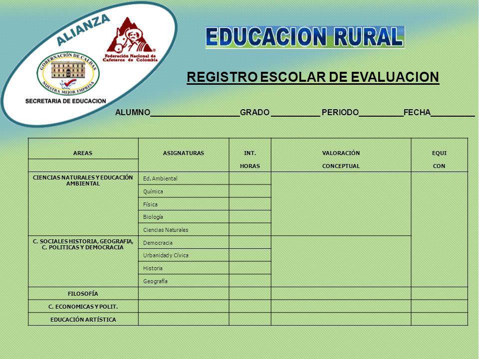 REGISTRO ESCOLAR DE EVALUACION