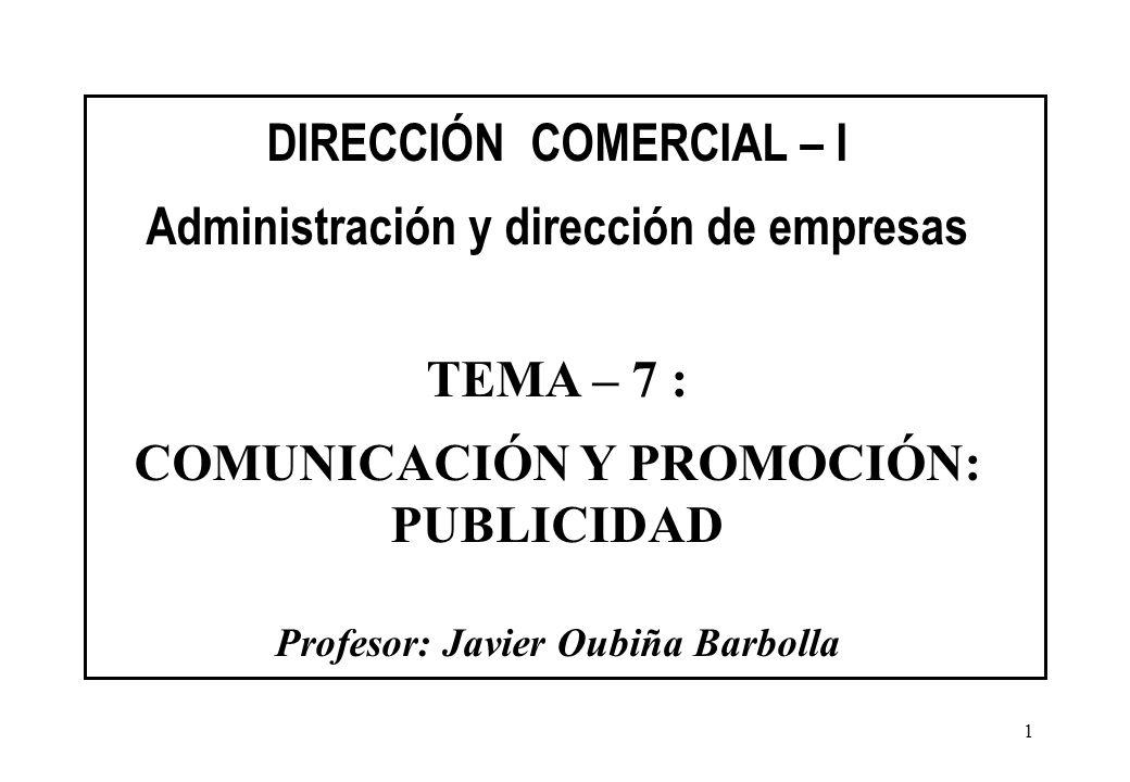 DIRECCIÓN COMERCIAL – I Administración y dirección de empresas