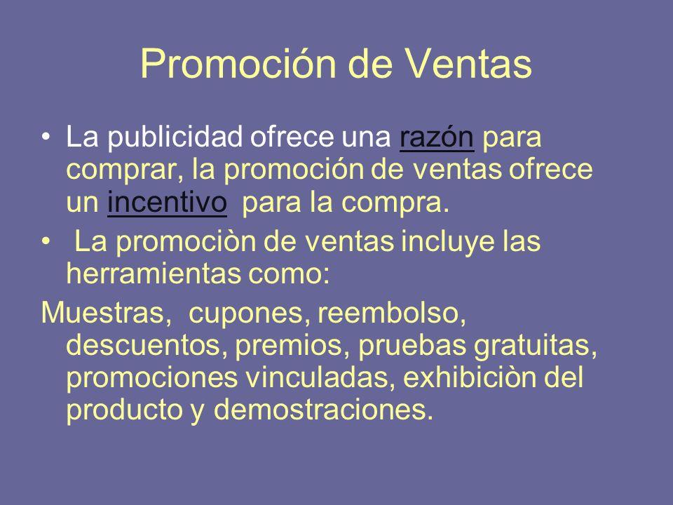 Promoción de Ventas La publicidad ofrece una razón para comprar, la promoción de ventas ofrece un incentivo para la compra.