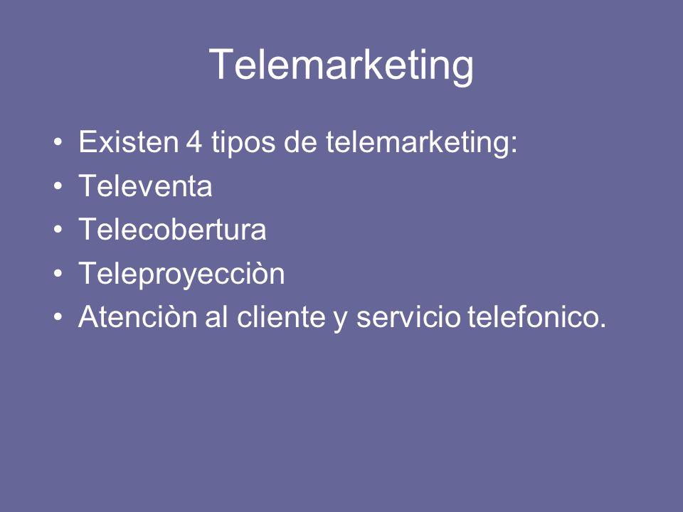 Telemarketing Existen 4 tipos de telemarketing: Televenta