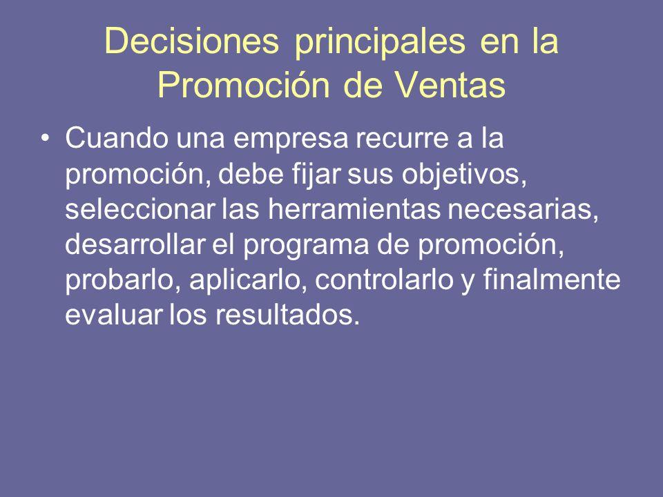 Decisiones principales en la Promoción de Ventas