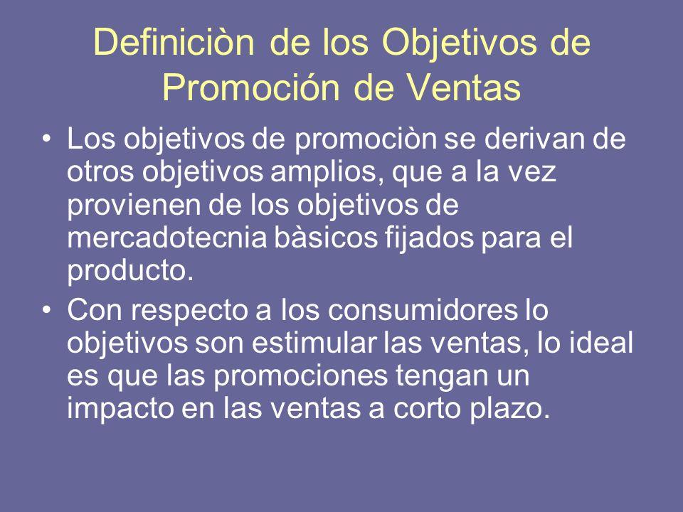 Definiciòn de los Objetivos de Promoción de Ventas