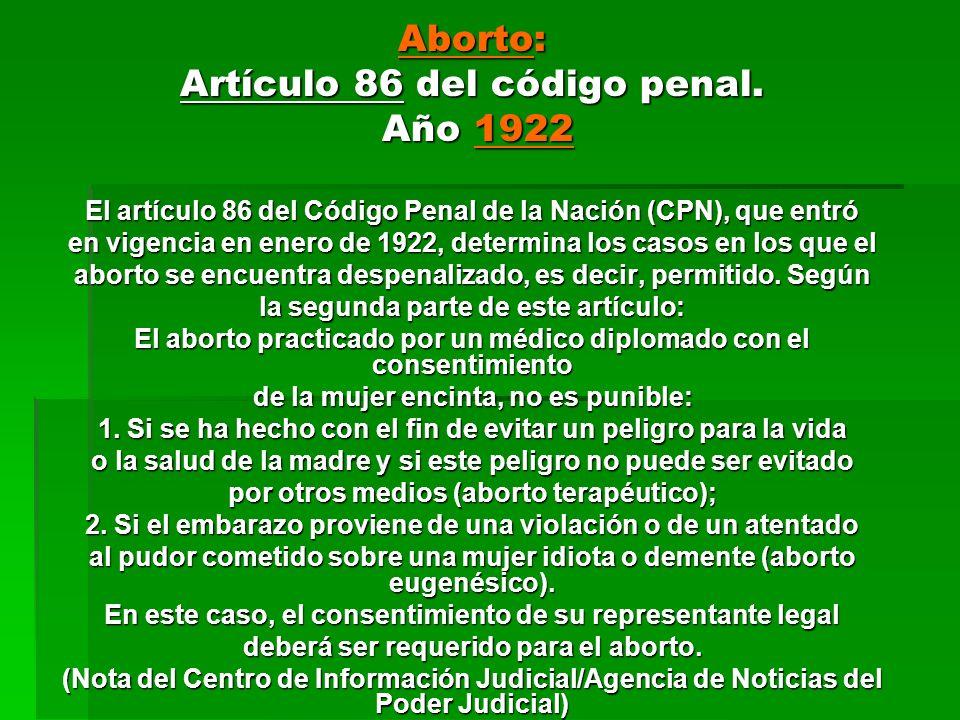 Artículo 86 del código penal. Año 1922