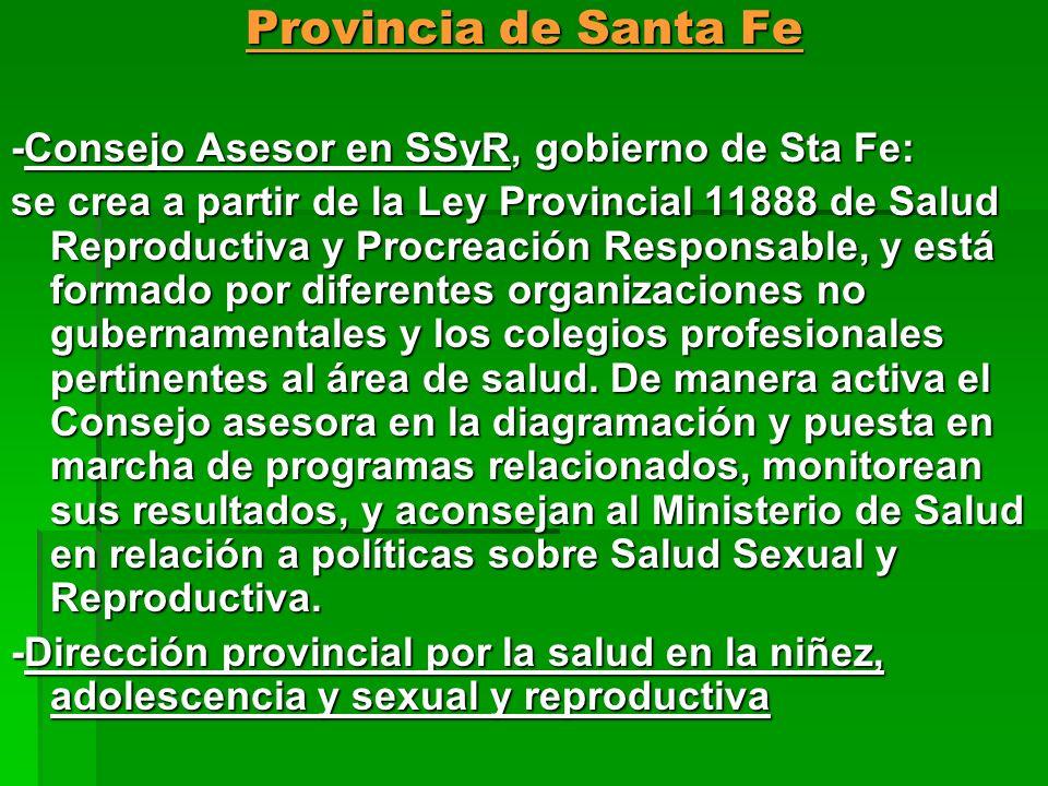 Provincia de Santa Fe -Consejo Asesor en SSyR, gobierno de Sta Fe: