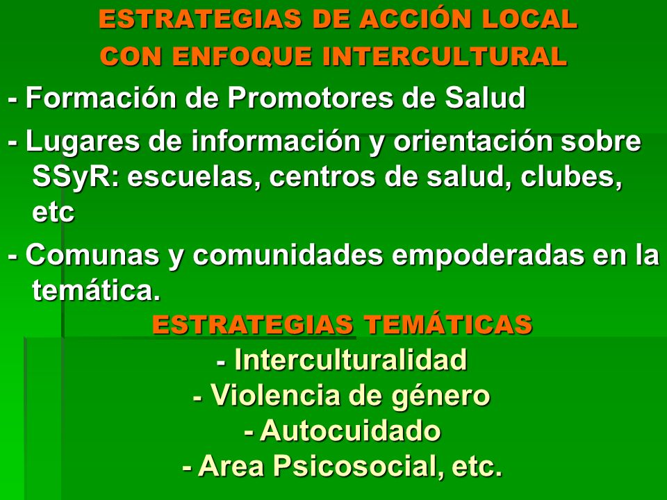 ESTRATEGIAS DE ACCIÓN LOCAL CON ENFOQUE INTERCULTURAL