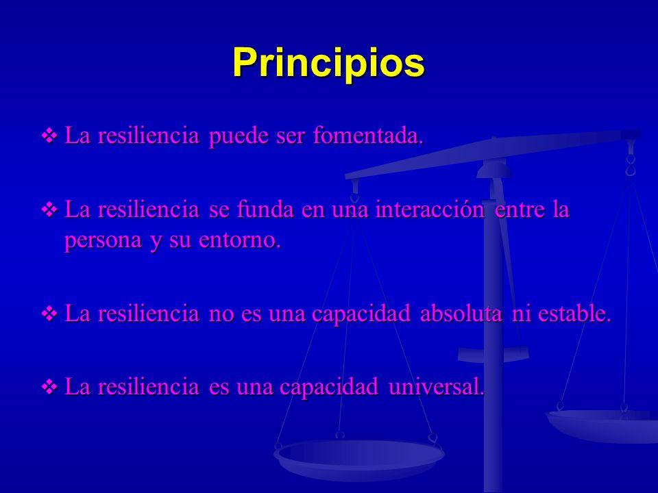 Principios La resiliencia puede ser fomentada.