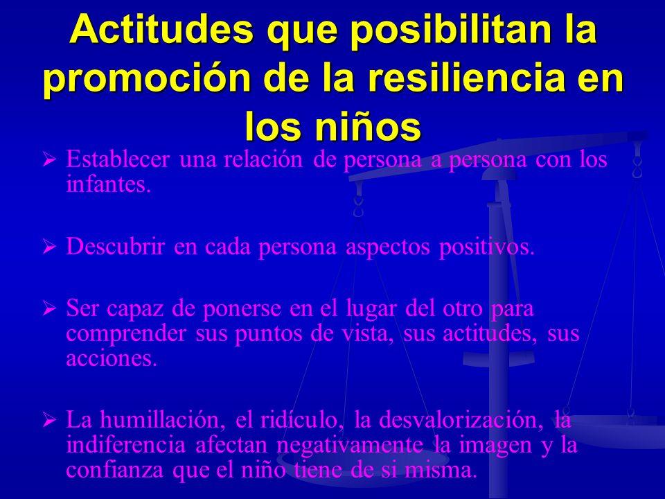 Actitudes que posibilitan la promoción de la resiliencia en los niños